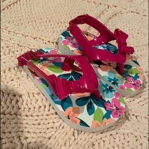 Toddler girl pink bow flip flops w/elastic back